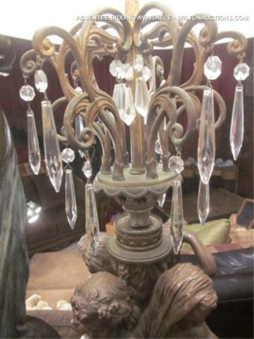 """62: LARGE FIGURAL LAMP WITH CRYSTAL DROPS, APPROX 35"""" T - 3"""