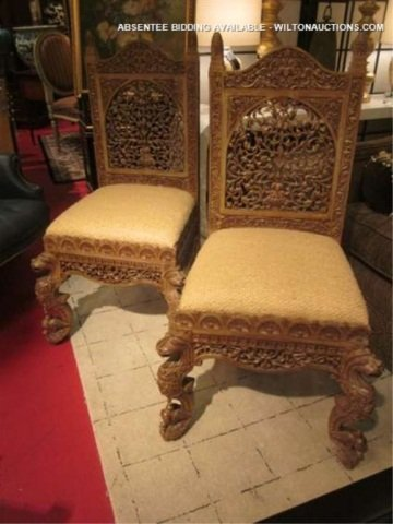 128: PAIR OF ORNATE INTRICATELY CARVED CHAIRS WITH GRIF