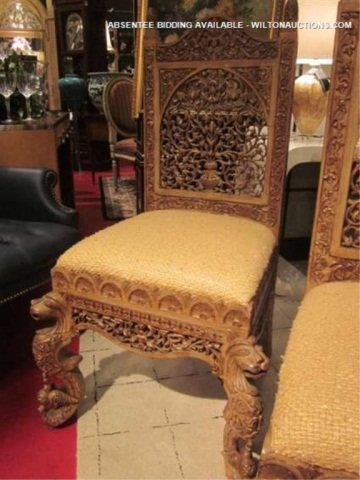 128: PAIR OF ORNATE INTRICATELY CARVED CHAIRS WITH GRIF - 2
