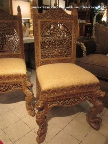 128: PAIR OF ORNATE INTRICATELY CARVED CHAIRS WITH GRIF - 3
