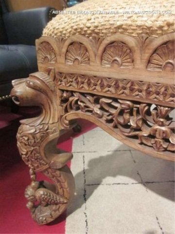 128: PAIR OF ORNATE INTRICATELY CARVED CHAIRS WITH GRIF - 9
