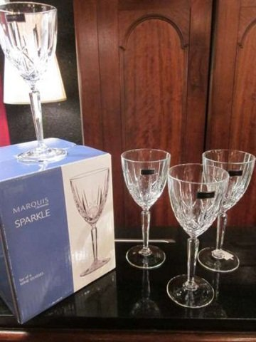 "158: SET OF 8 MARQUIS BY WATERFORD ""SPARKLE"" LEAD CRYST - 3"