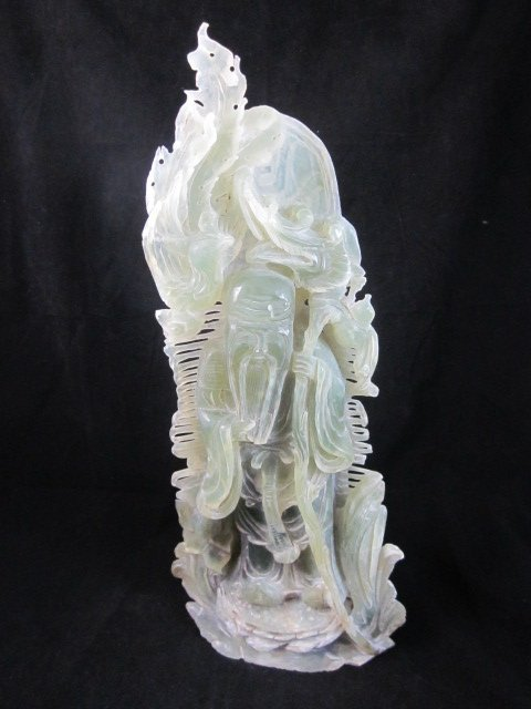 "61: CARVED JADE IMMORTAL FIGURE, APPROX 17 1/2"" HIGH"