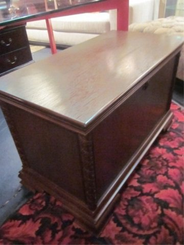 1: DARK WOOD BLANKET CHEST, APPROX 4 FT LONG