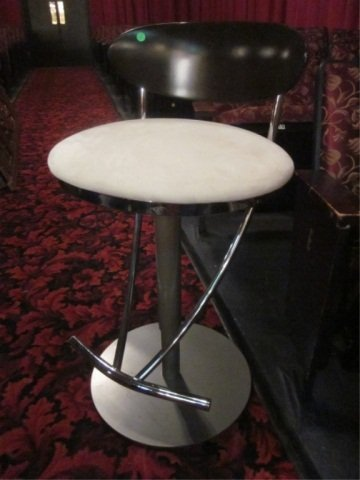 2: BLACK AND WHITE BARSTOOL WITH CHROME ACCENTS