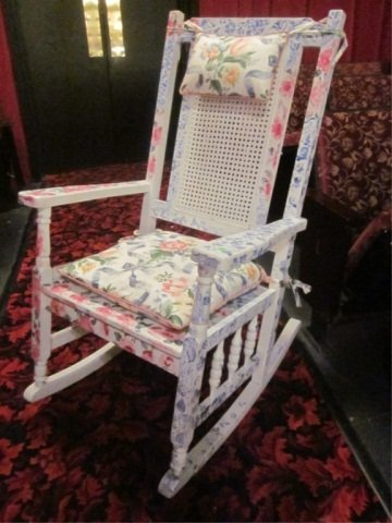 3: FLORAL PAINTED WHITE ROCKER WITH MATCHING SEAT CUSHI