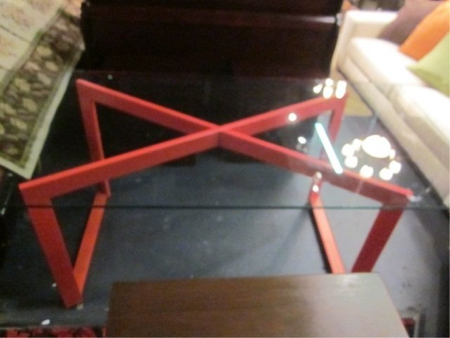 3A: CONTEMPORARY RED METAL X FRAME DESK OR TABLE BASE W