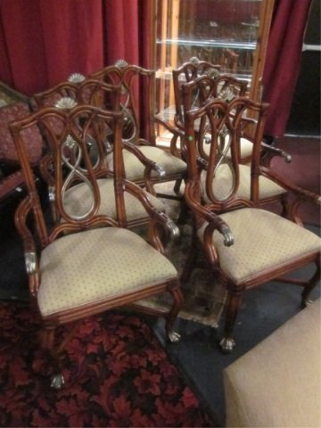4: SET OF 6 ORNATE HEAVY RATTAN ARMCHAIRS WITH SILVER G