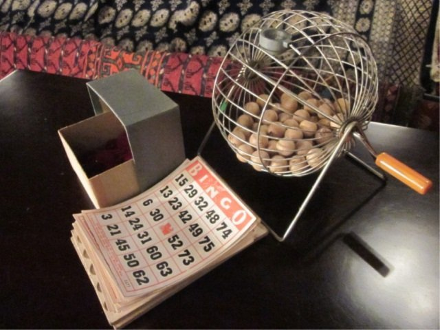 8A: VINTAGE BINGO WIRE CAGE, CHIPS & CARDS