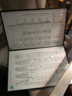 "1: FRAMED TITANIC DECK PLANS, APPROX 11 1/4"" X 17 1/4"""