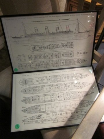 "1: FRAMED TITANIC DECK PLANS, APPROX 11 1/4"" X 17 1/4"""