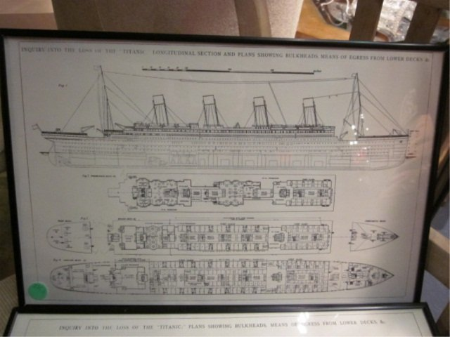 "1: FRAMED TITANIC DECK PLANS, APPROX 11 1/4"" X 17 1/4"" - 2"