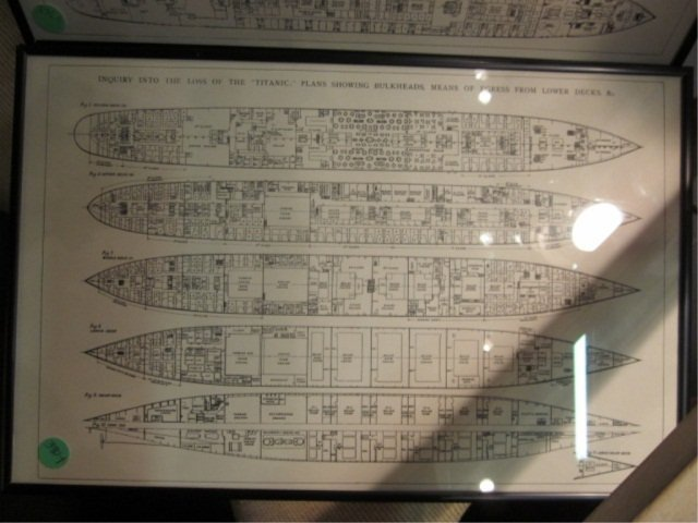 "1: FRAMED TITANIC DECK PLANS, APPROX 11 1/4"" X 17 1/4"" - 3"