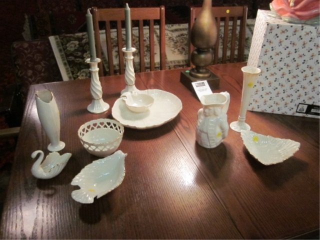 2: 10 PIECES GOLD & WHITE LENOX INCLUDES CANDLEHOLDERS,