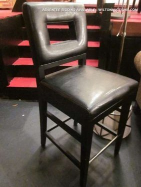 7: NEW, NEVER USED BLACK LEATHER BARSTOOL WITH CUTOUT B
