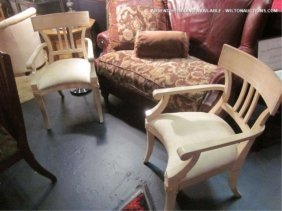 PAIR OF NEOCLASSIC ARMCHAIRS IN OFF WHITE FINISH