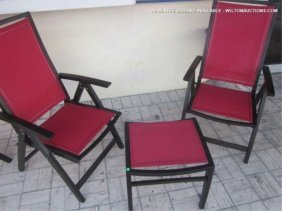 9: 6 PC CONTEMPORARY PATIO SET, 4 ARMCHAIRS AND 2 OTTOM