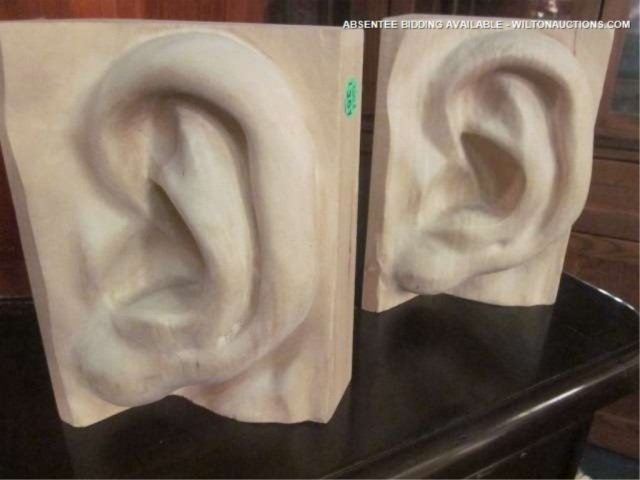 """10: CARVED WOOD EAR SHAPED BOOKENDS, APPROX 10"""" H"""