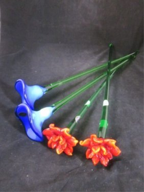 13: MURANO ART GLASS FLOWERS - TWO RED & TWO BLUE, APPR