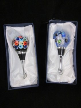 14: MURANO ART GLASS TWO ROUND BOTTLE STOPPERS, APPROX.
