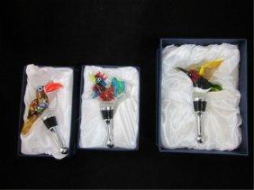 15: MURANO ART GLASS BIRD BOTTLE STOPPERS, APPROX. 4 1/