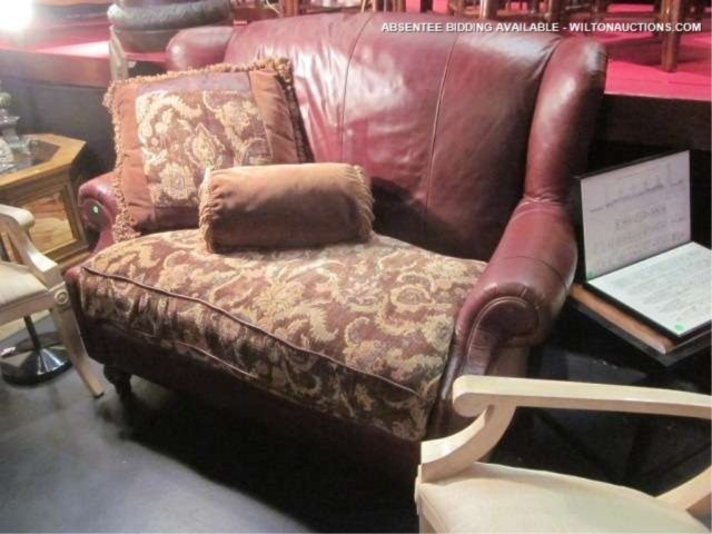 35: BROWN LEATHER WINGBACK LOVESEAT WITH UPHOLSTERED SE