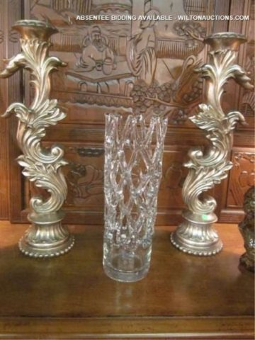 40: PAIR OF LARGE ORNATE PILLAR CANDLE HOLDERS, SILVER