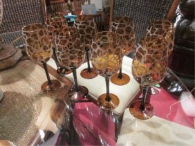 SET OF SIX GIRAFFE PRINT STEMWARE GLASSES, APPROX 1