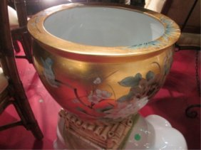 CHINESE GOLDFISH BOWL WITH GOLD FINISH, APPROX 12""