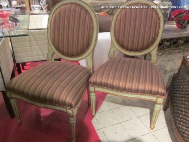69: PAIR OF FRENCH LOUIS XVI STYLE CHAIRS WITH VERDIGRI