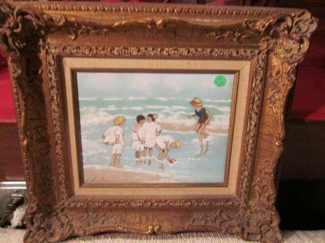 2: ENAMEL ON COPPER - BEACH SCENE, SIGNED C. SIMKIN, AP