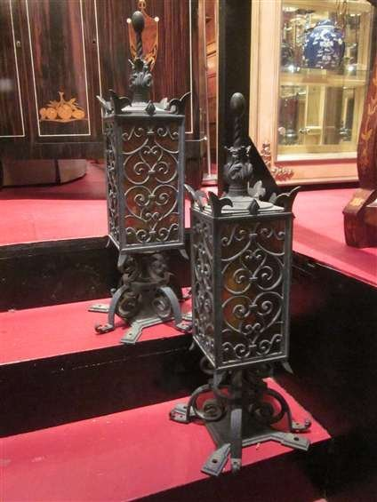 """4A: PAIR OF ORNATE METAL EXTERIOR LANTERNS, APPROX 20""""H"""