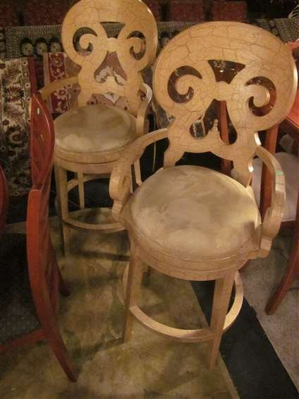 8: #1 OF TWO AVAILABLE PAIRS OF ORNATE BARSTOOLS, ANTIQ