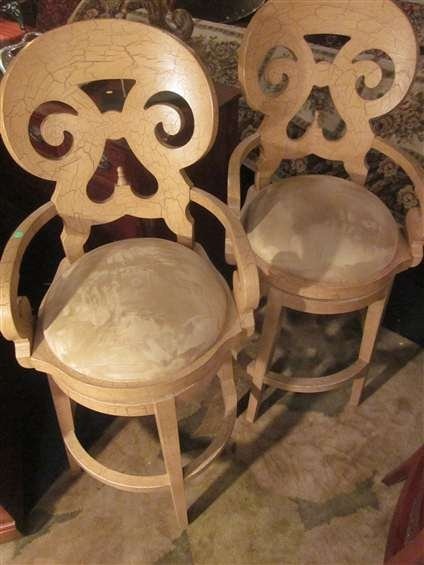 8A: #2 OF TWO AVAILABLE PAIRS OF ORNATE BARSTOOLS, ANTI