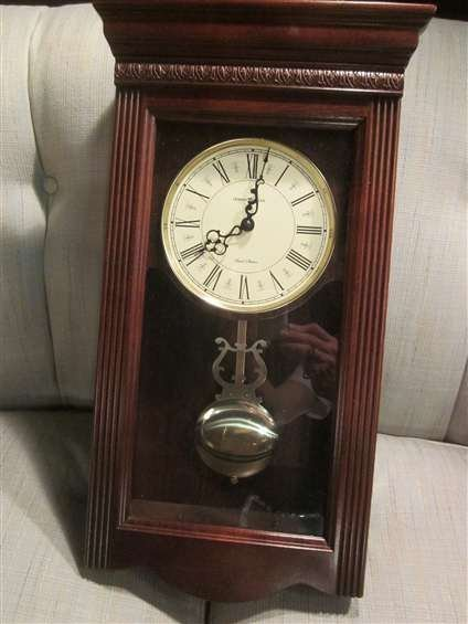 "3: DARK WOOD HOWARD MILLER WALL CLOCK, APPROX 25""L"
