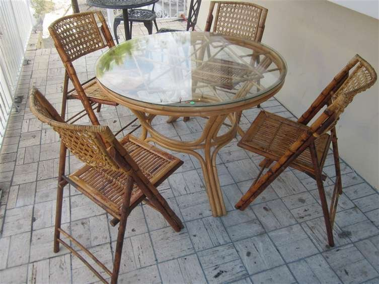 5: CONTEMPORARY BAMBOO DINING TABLE WITH FOUR FOLDING C