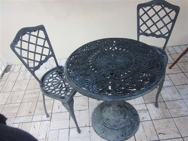 6: ALUMINUM BISTRO PATIO SET - 3 PC TABLE AND 2 CHAIRS,