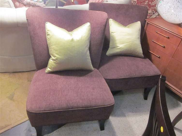 16: PAIR OF CONTEMPORARY SLIPPER CHAIRS IN PLUM UPHOLST