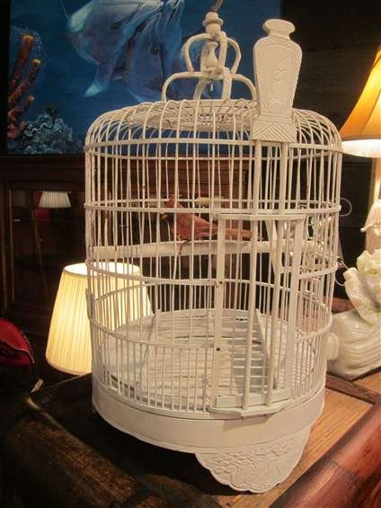"17: WHITE WOODEN BIRDCAGE, APPROX 25""H"