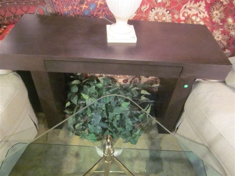 19: CONTEMPORARY ESPRESSO FINISH CONSOLE TABLE OR DESK,