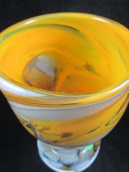 56: SIGNED MURANO ART GLASS GOLDEN GOBLET, WITH ETCHED  - 6