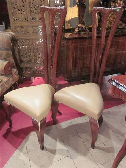 103: PAIR OF HIGH BACK CHAIRS, DESIGNER STEVEN G., WITH - 2