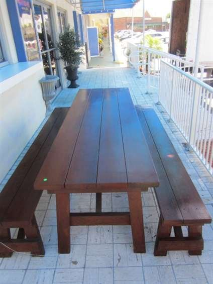 1: BEAUTIFUL INDOOR OR OUTDOOR PICNIC TABLE AND PAIR OF - 3