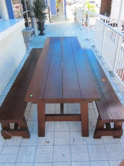 1: BEAUTIFUL INDOOR OR OUTDOOR PICNIC TABLE AND PAIR OF - 4