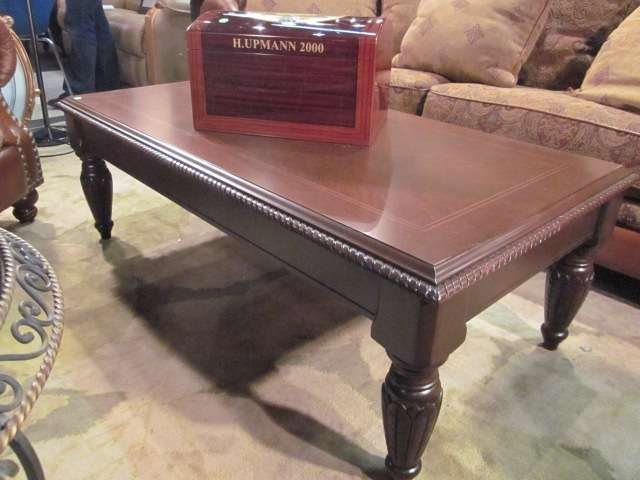 4: TRADITIONAL STYLE DARK WOOD COFFEE TABLE, APPROX 4'L