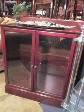 CABINET WITH 2 CLASS DOORS, CHERRY FINISH, APPROX 3.