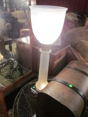 6: TORCHIERE STYLE TABLE LAMP WITH LIGHTED COLUMN BASE,