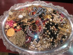 9: COSTUME JEWELRY, SOLD TOGETHER, TRAY NOT INCLUDED