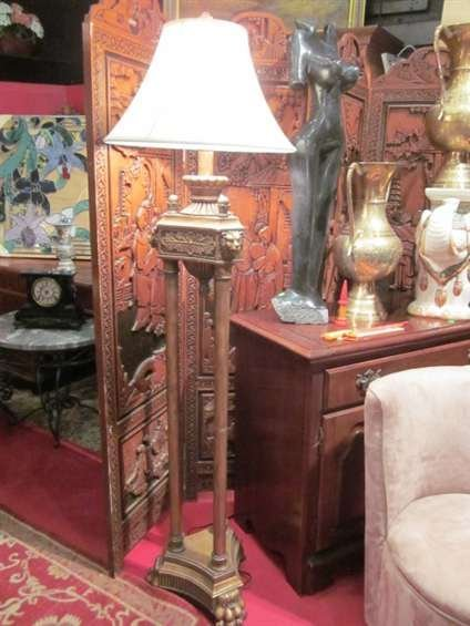 13: ORNATE FLOOR LAMP, 3 COLUMNS WITH LION'S HEAD ACCEN