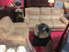 15: 2 PC LEATHER DUAL RECLINING SOFA AND RECLINING ARMC